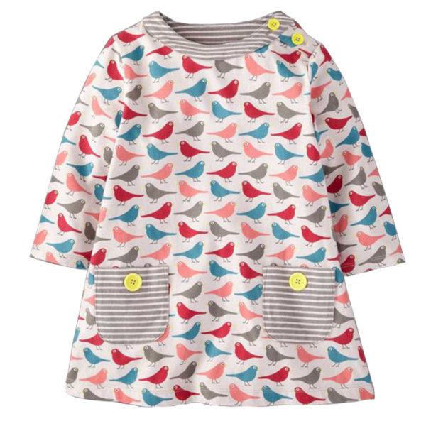 Robe d'hiver pour fille - Motifs oiseaux