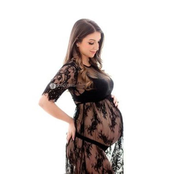 Robe noire dentelles maternité - Grossesse