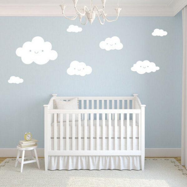 Sticker mural chambre bébé - Nuages blancs