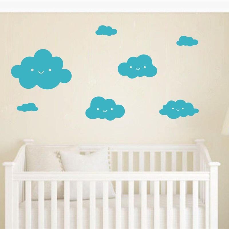 Stickers muraux nuages chambre bébé - Sticker déco