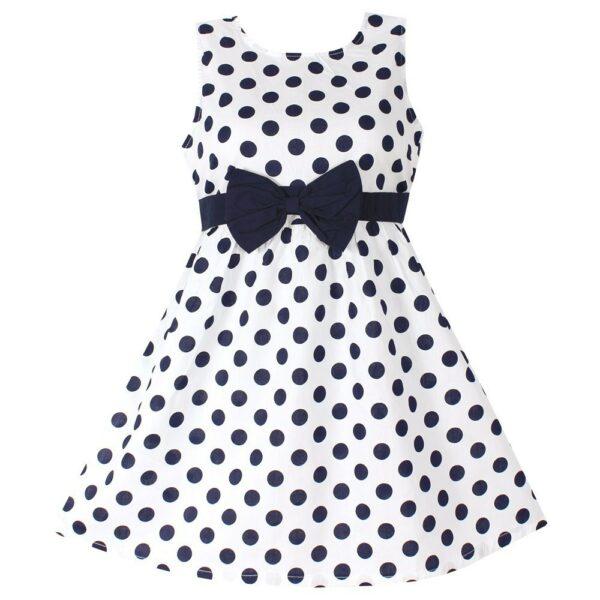 Robe blanche à pois bleu marine pour enfant fille
