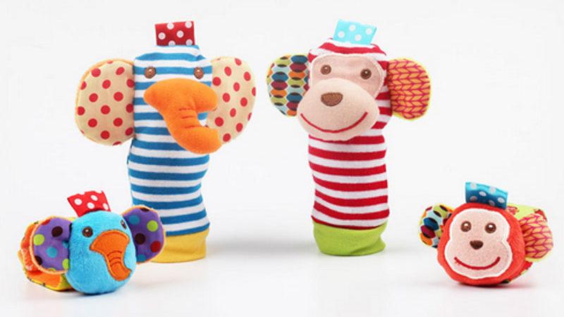 Doudou chaussette et bracelet pour bébé garçon et bébé fille
