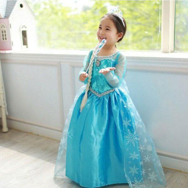 Robe déguisement Elsa fille (de la Reine des neiges)