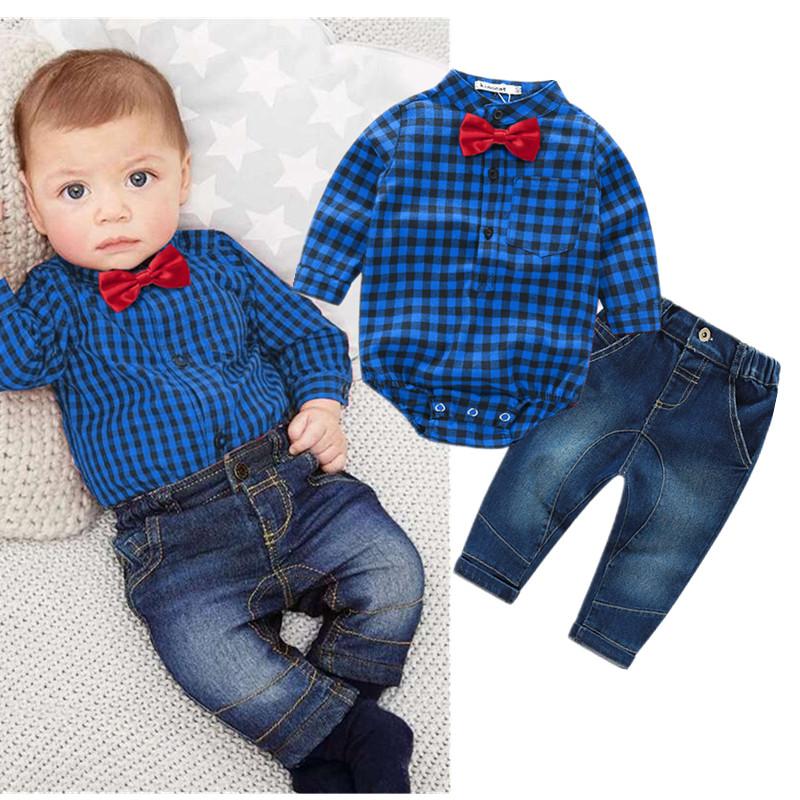 085e5d8ab1d01 ... Ensemble bébé jean et chemise bleue à carreaux avec nœud papillon rouge