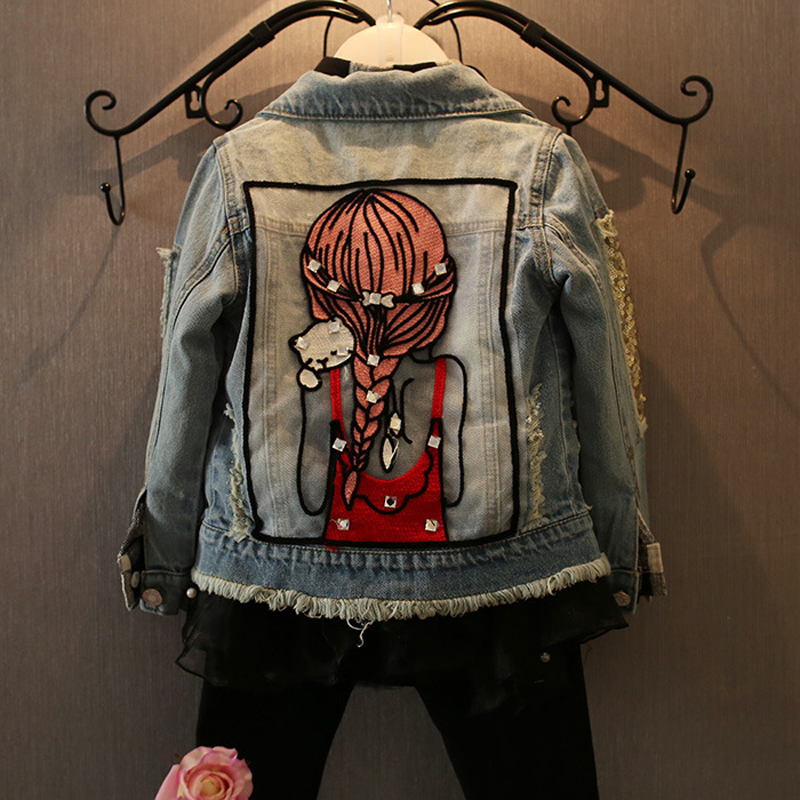 Veste denim enfant fille - Veste jean fashion avec trous