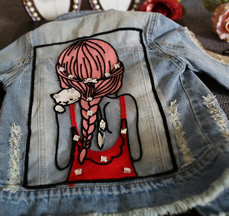 Veste enfant fille denim jean avec trous et couleur délavé