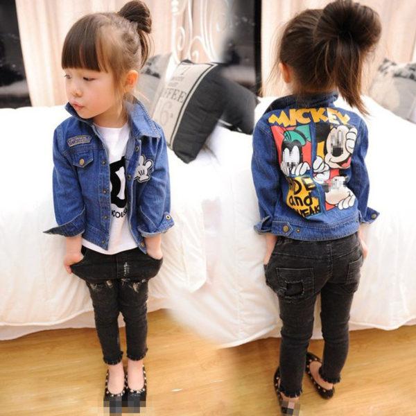 Veste jean denim enfant fille - Mickey imprimé sur le dos de la veste