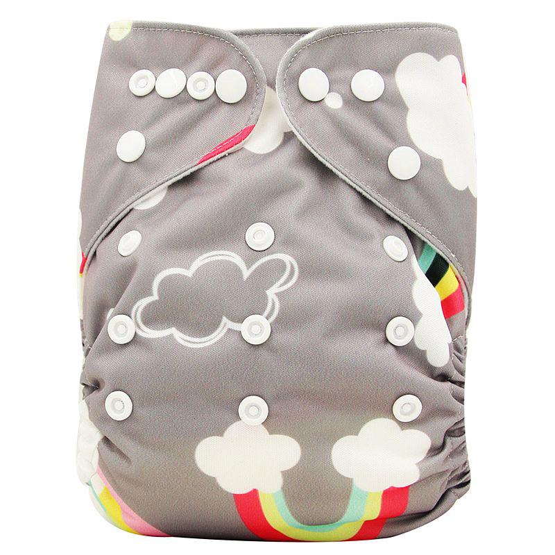 Couches lavables réutilisables - Couleur gris, nuages et arc-en-ciel