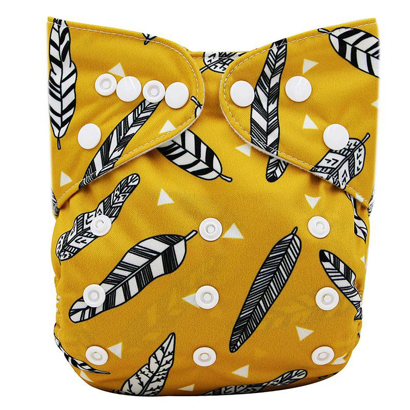 Couches lavables réutilisables - Plumes d'indien, couleur ocre jaune