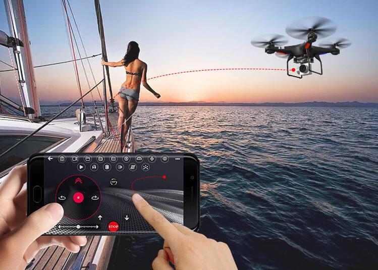 Drone SH5H piloté avec smartphone