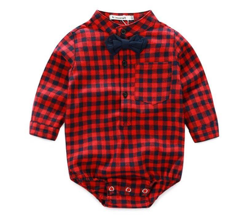 Chemise bébé à carreaux rouges et noirs