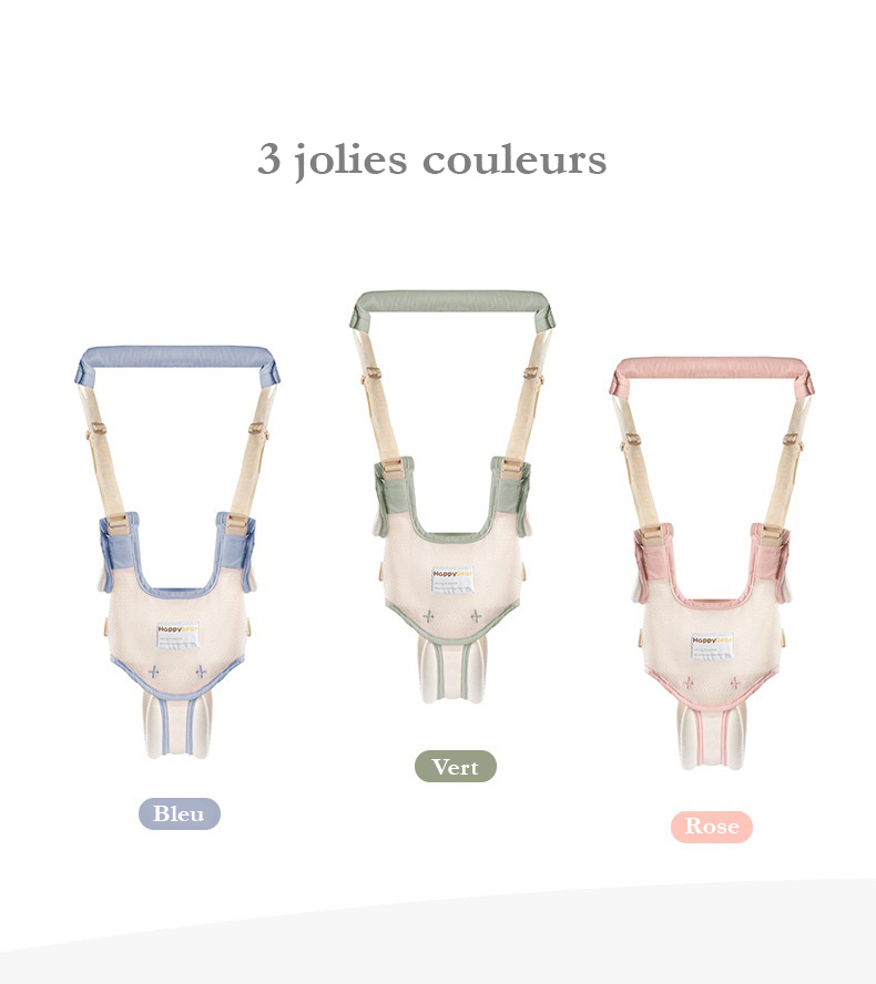 3 couleurs du harnais bébé : bleu, vert ou harnais rose