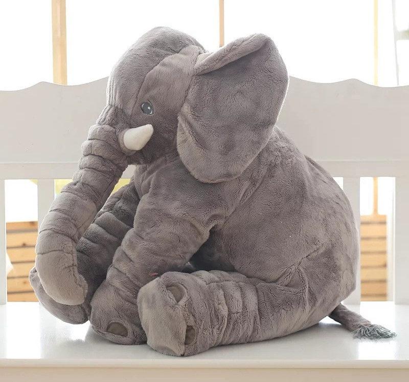 Oreiller en forme d'éléphant gris