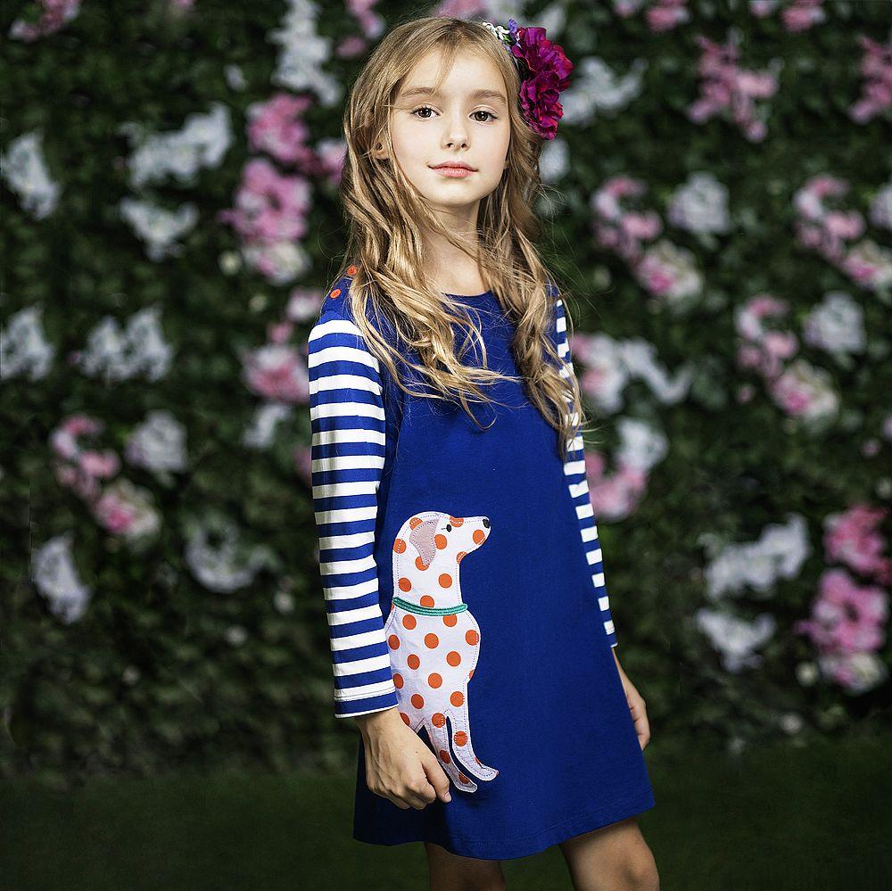 Robe fille couleur bleu marine mi-longue manches longues motif chien