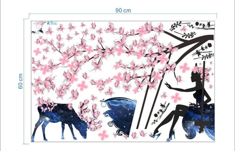 Sticker mural romantique et poétique papillons roses