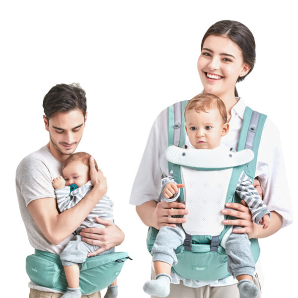 Porte-bébé hipseat couleur vert pour porter bébé plus longtemps