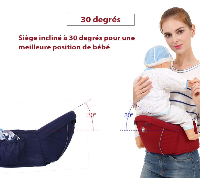 Porte-bébé hipseat incliné à 30 degrés pour le confort du bébé et de la maman
