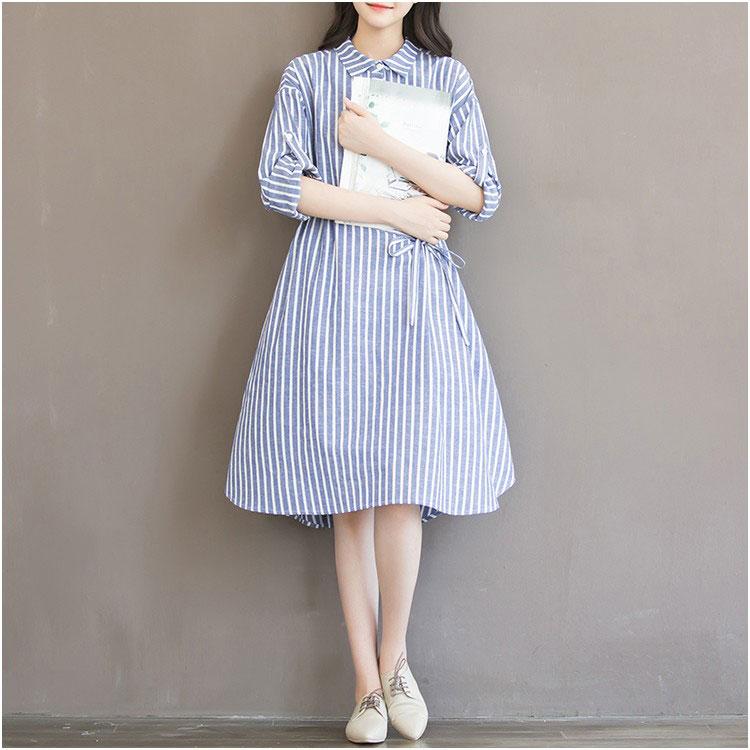 Robe de grossesse bleu et blanc, robe pour femmes enceintes