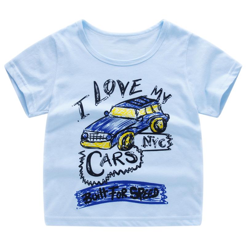 T-shirt bleu pour garçon I love my cars