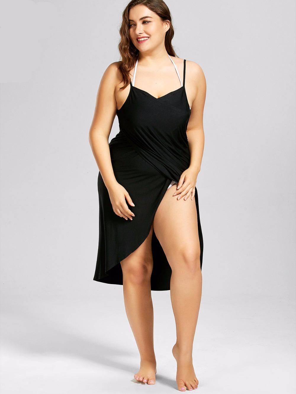 Robe noire décontractée grande taille femme enceinte pour la plage