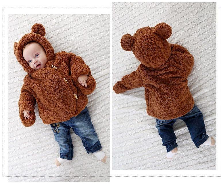 Veste bébé garçon capuche ours brun