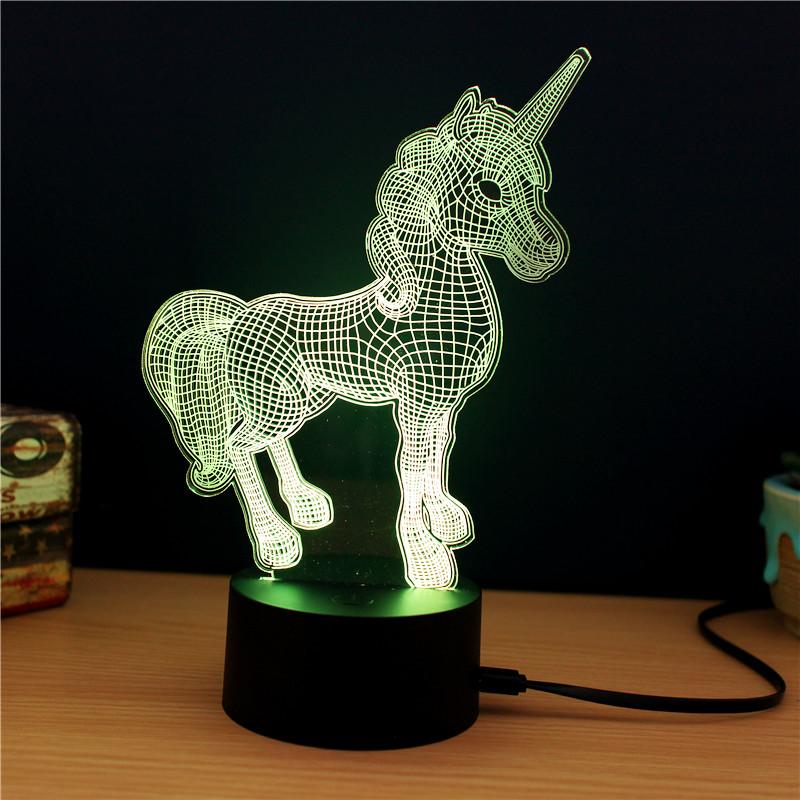 Lampe décorative Licorne 3D - Lumière LED multicolore