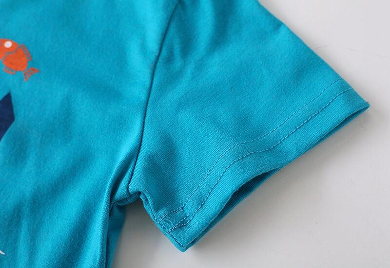 Manche courte t-shirt garçon couleur bleu