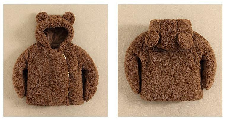 Veste bébé garçon pour l'hiver, capuche en tête d'ours