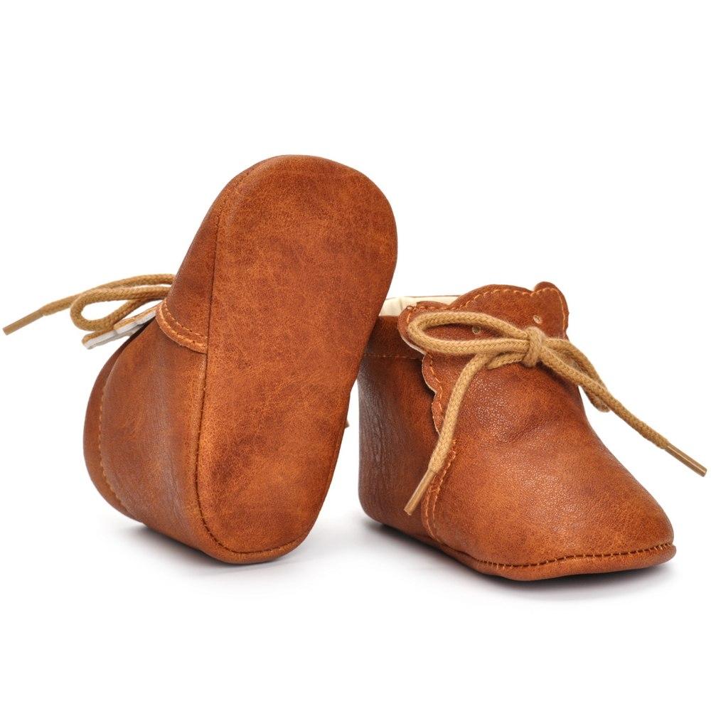 Chaussures en cuir avec lacets marrons, chaussures pour bébé