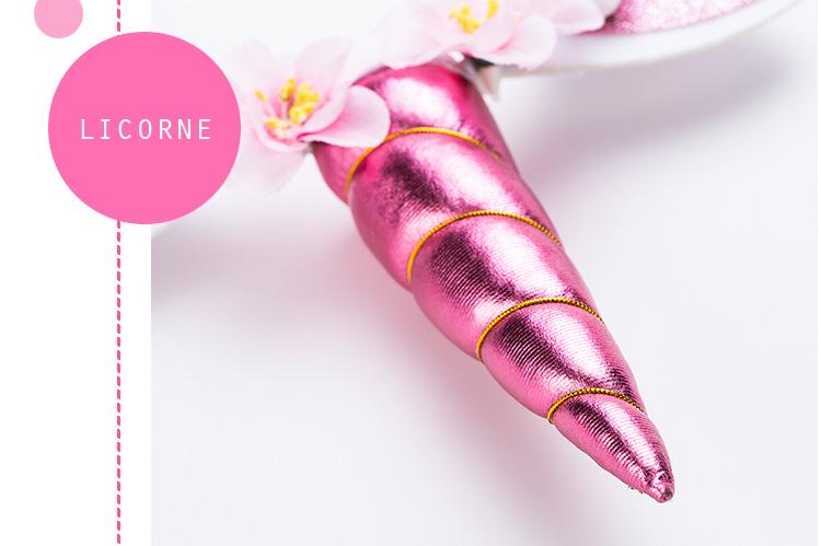 Serre-tête Licorne rose brillant pour fille