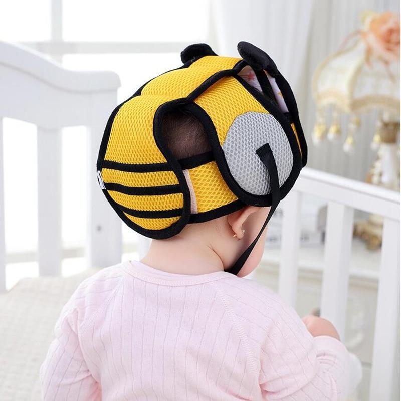 Casque bébé jaune, thème abeille, pour apprendre à marcher en sécurité