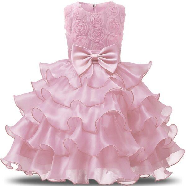 Robe fille couleur rose - Robe élégante pour mariage et autres cérémonies