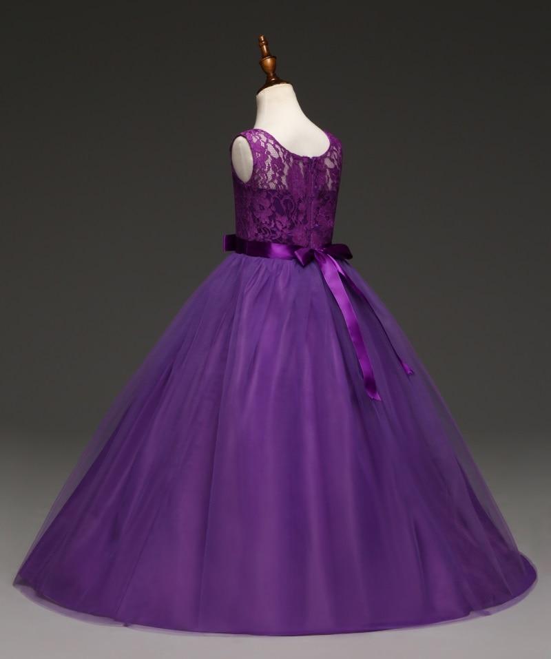 Robe longue demoiselle d'honneur - couleur violet, vue de profil