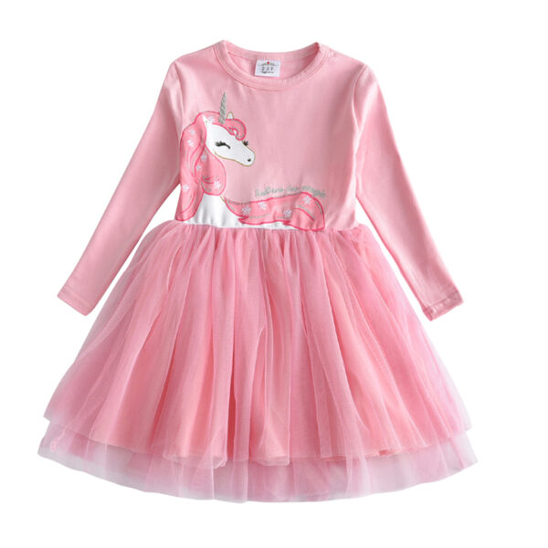 Robe manches longues fille - robe rose avec licorne