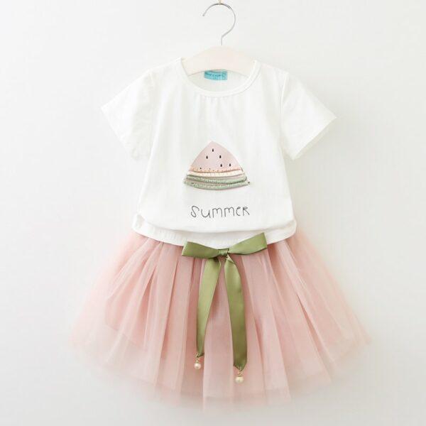 Robe pour fille 3 à 7 ans, mi-longue, rose et blanc