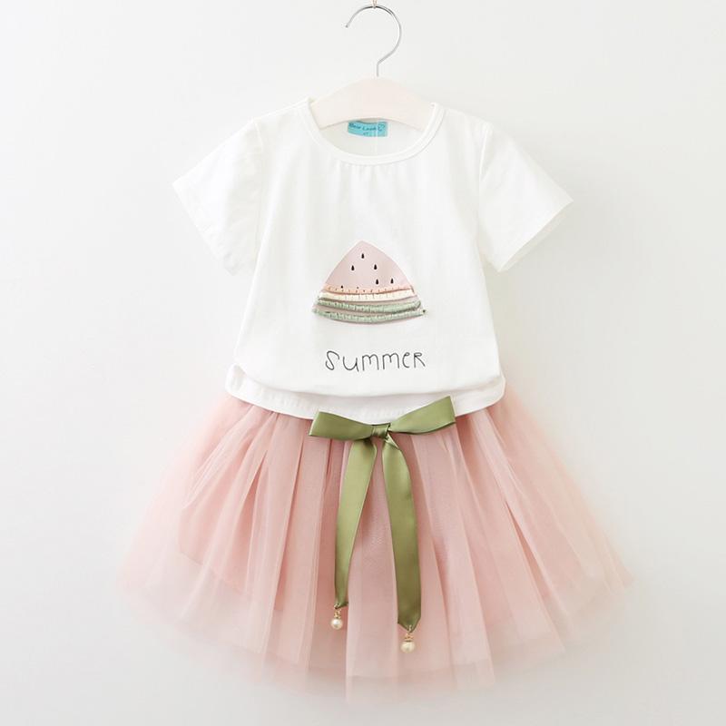 Robe pour fille 3 à 7 ans rose et blanc