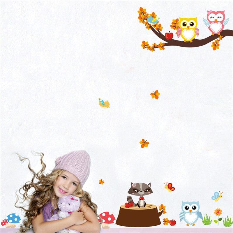 Sticker mural animaux dans la forêt - Sticker chambre enfant fille