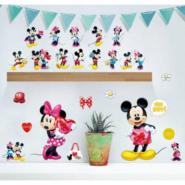 Stickers muraux Mickey et Minnie chambre bébé fille ou garçon