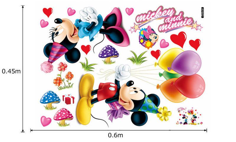 Stickers muraux Disney : Mickey et Minnie amoureux