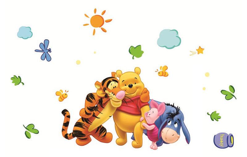 Magnifique sticker mural Winnie l'Ourson, Tigrou, Porcinet et Bourriquet - Déco chambre enfant
