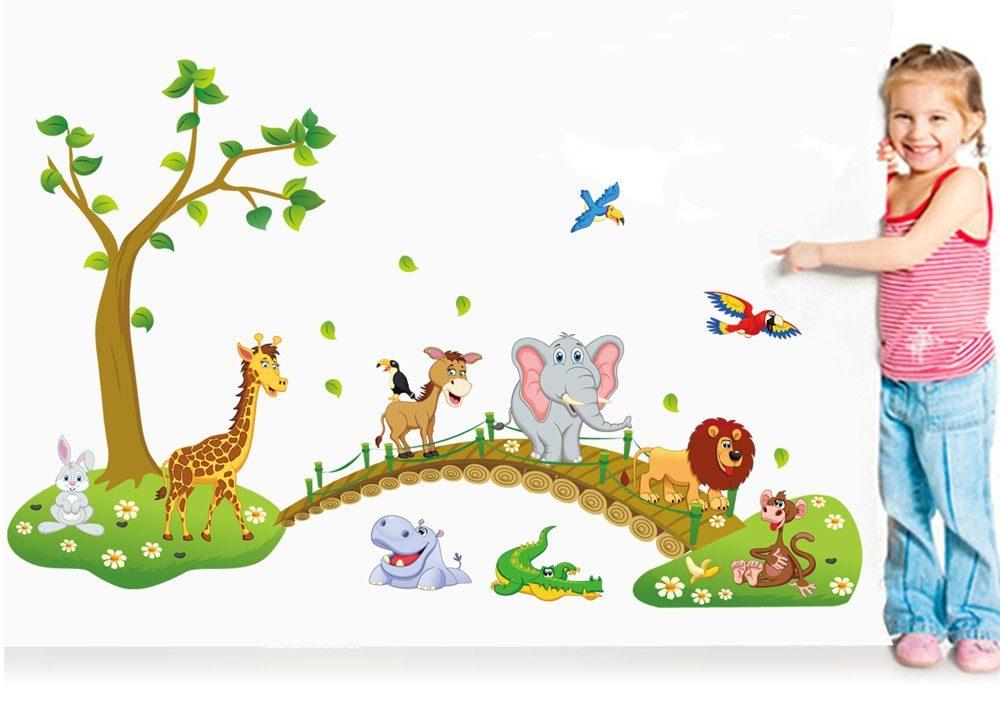 Sticker mural animaux de la jungle pour chambre enfant