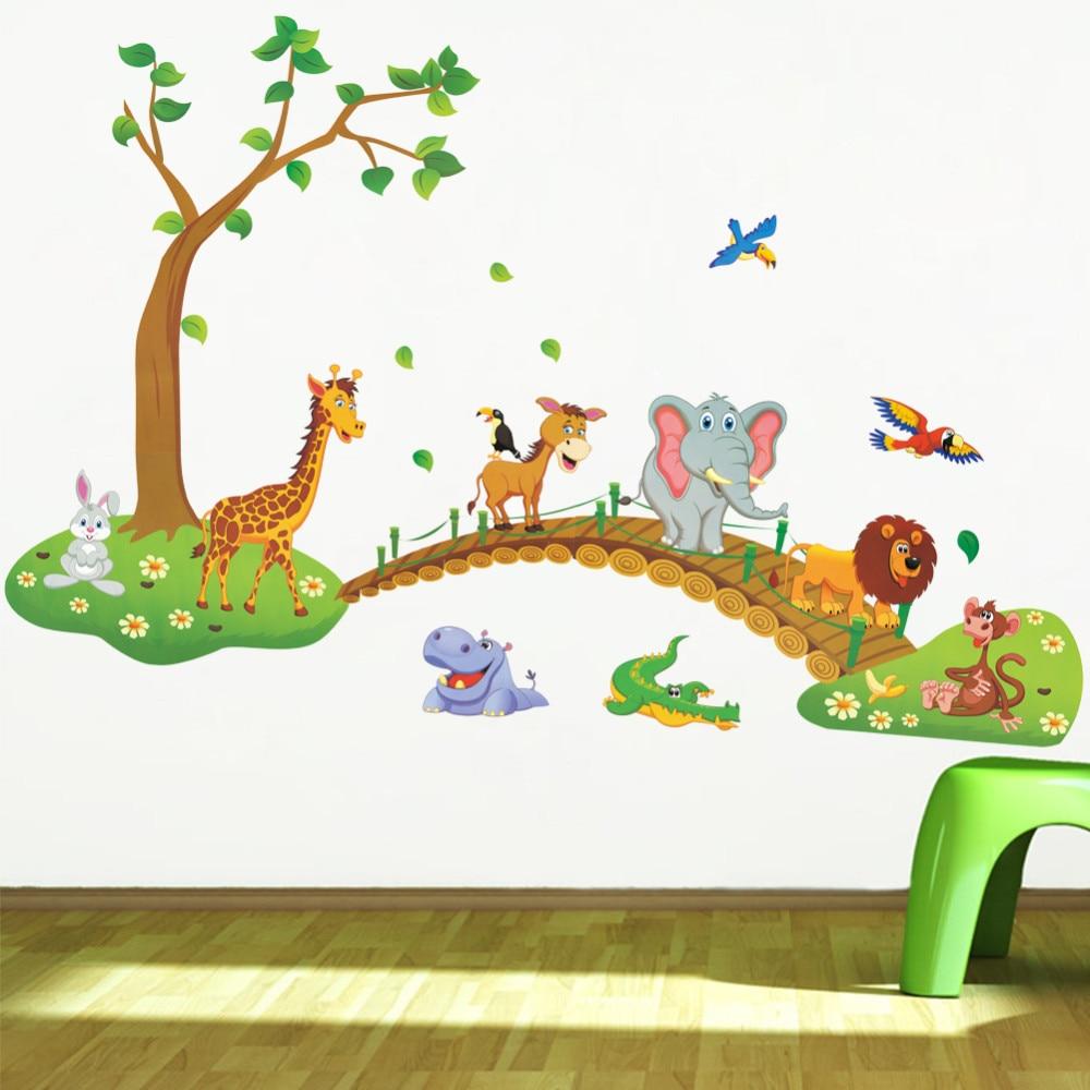 Stickers Muraux Chambre Bébé sticker mural animaux de la jungle pour chambre enfant / bébé