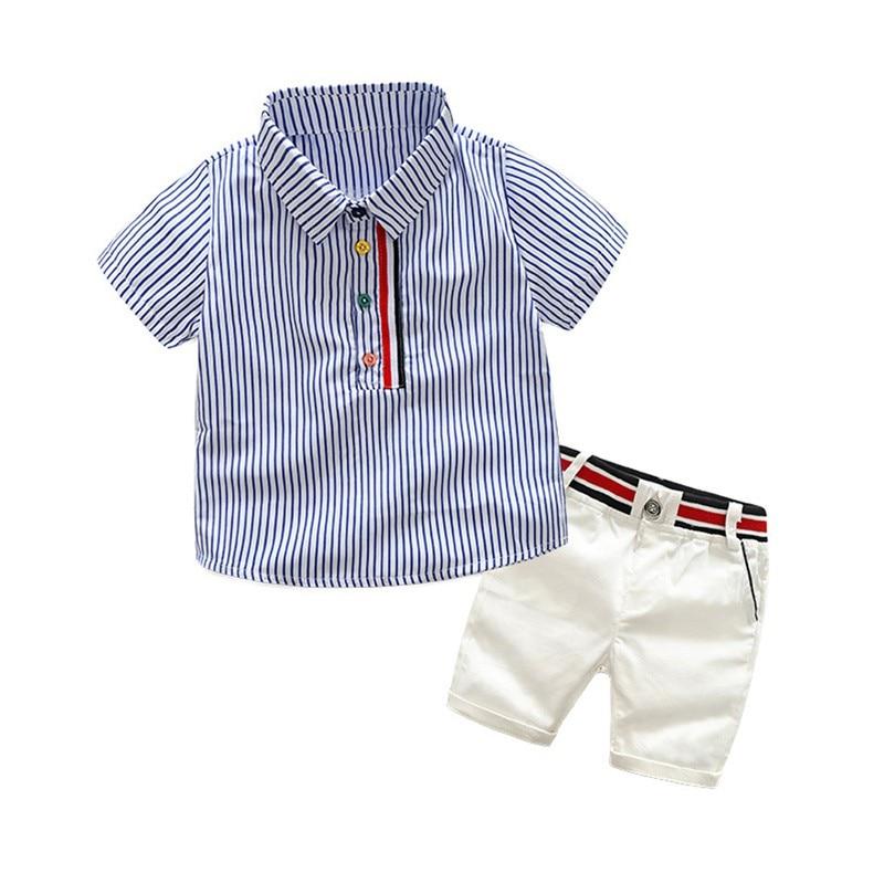 Ensemble enfant garçon bermuda blanc et chemise rayures bleues