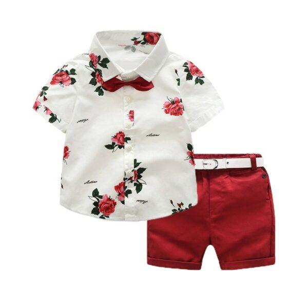 Ensemble enfant garçon bermuda rouge et chemise blanche