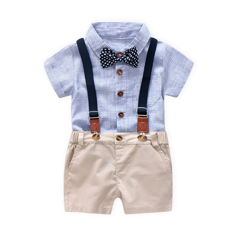 Ensemble bébé garçon chemise bleue et bermuda beige