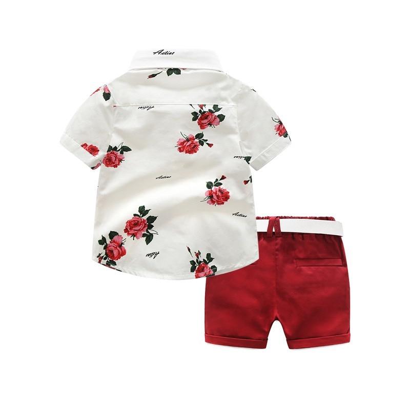 Ensemble garçon bermuda rouge et chemise blanche dos