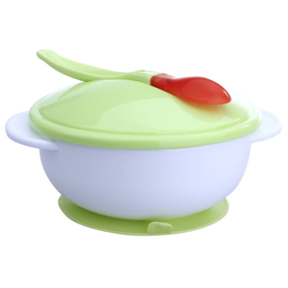 Assiette ventouse bébé couleur vert et blanc