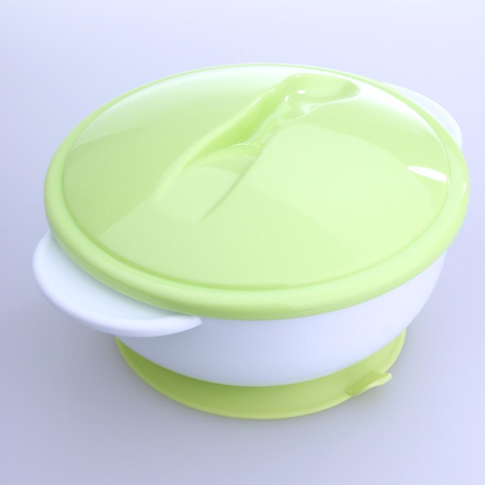 Assiette ventouse bébé avec couvercle et socle vert
