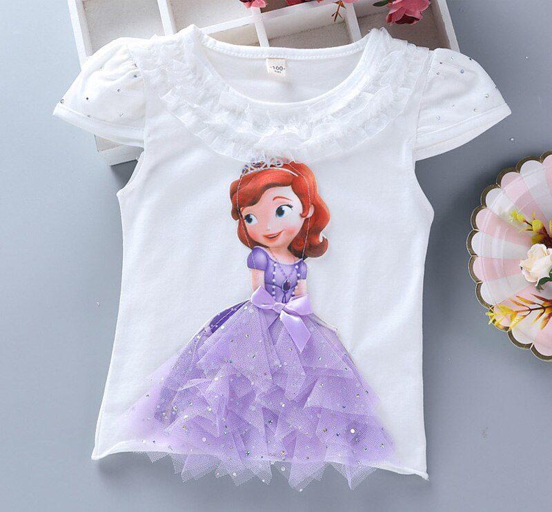 T-shirt blanc Princesse Sofia - robe de la Princesse Sofia comme motif 3D sur le t-shirt