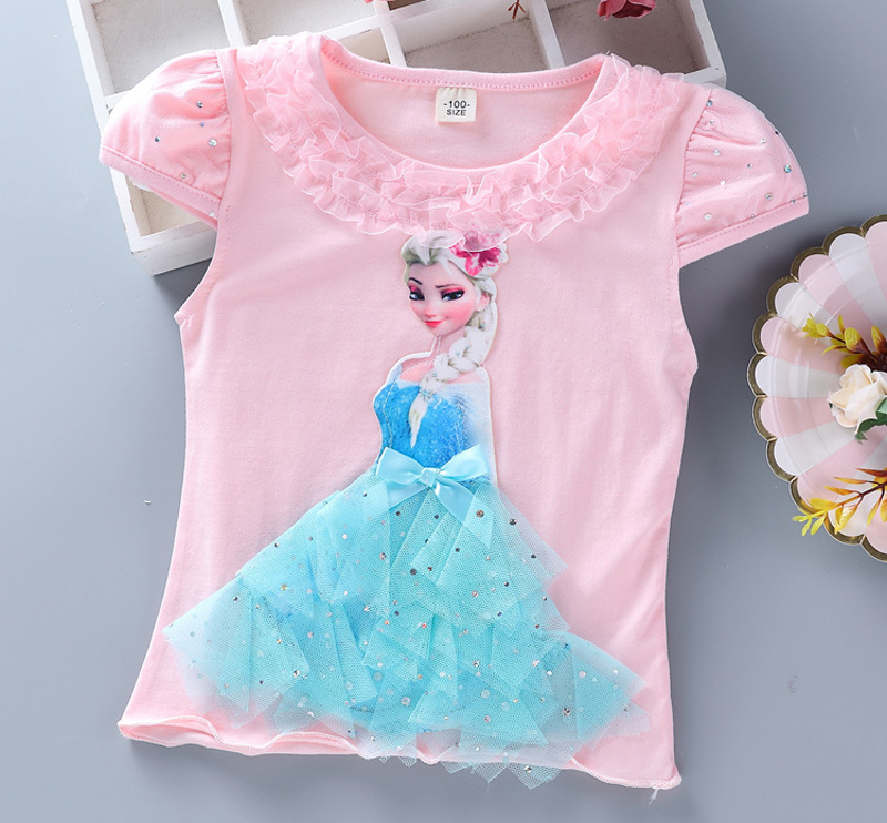 T-shirt rose Elsa - Reine des Neige avec robe 3D